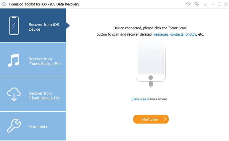 Starten Sie die Wiederherstellung des FoneDog iOS Safari-Verlaufs