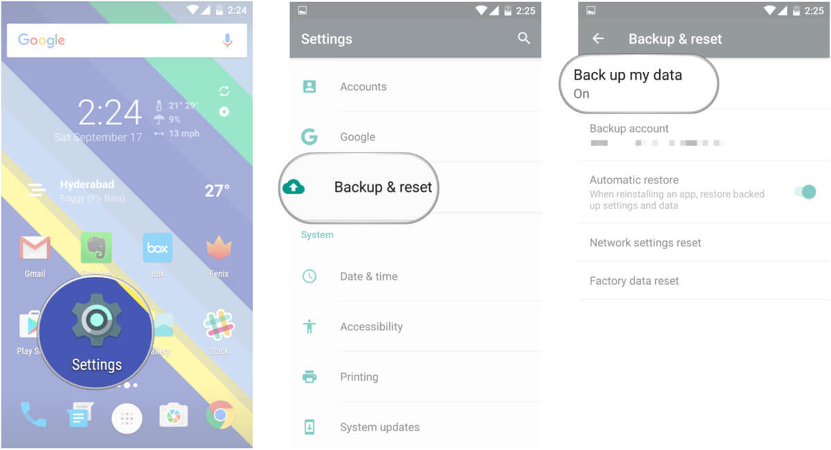 Android-Backup-Wiederherstellung-Einstellung