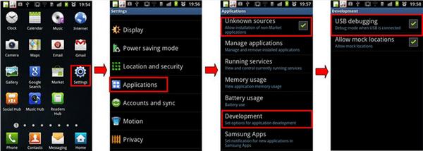 Android USB Debuggen von 2.3