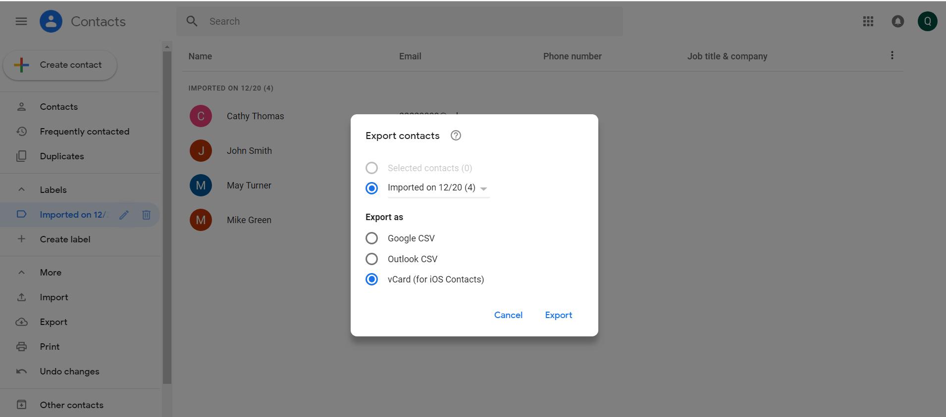 Importieren von Csv-Dateien in Android-Export