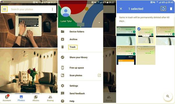 Gelöschte Fotos auf Samsung mit Google Fotos wiederherstellen