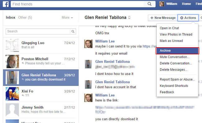 Facebook-Nachrichten archivieren 2