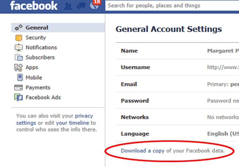 Facebook-Kopie herunterladen