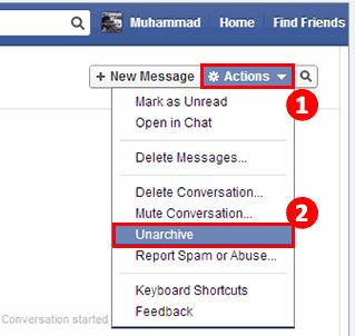 Holen Sie sich Facebook-Nachrichten aus der archivierten Datei zurück