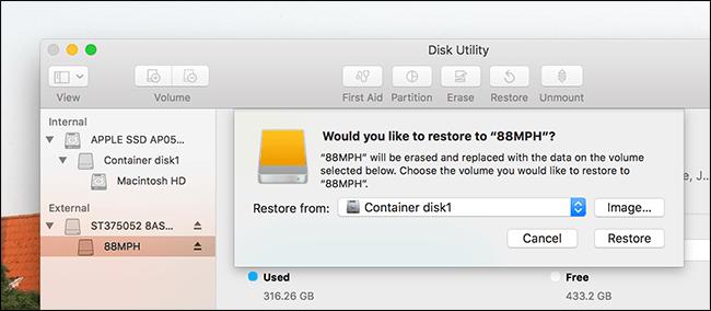 Überprüfen Sie den verfügbaren Festplattenspeicher des Mac-Festplatten-Dienstprogramms