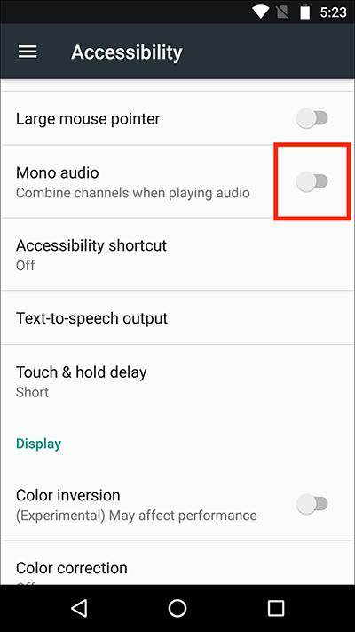 Aktivieren Sie die Mono-Audio-Option, um meine Lautstärke zu korrigieren