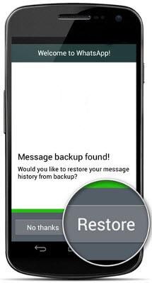 Whatsapp-Nachrichten aus der letzten Sicherung wiederherstellen